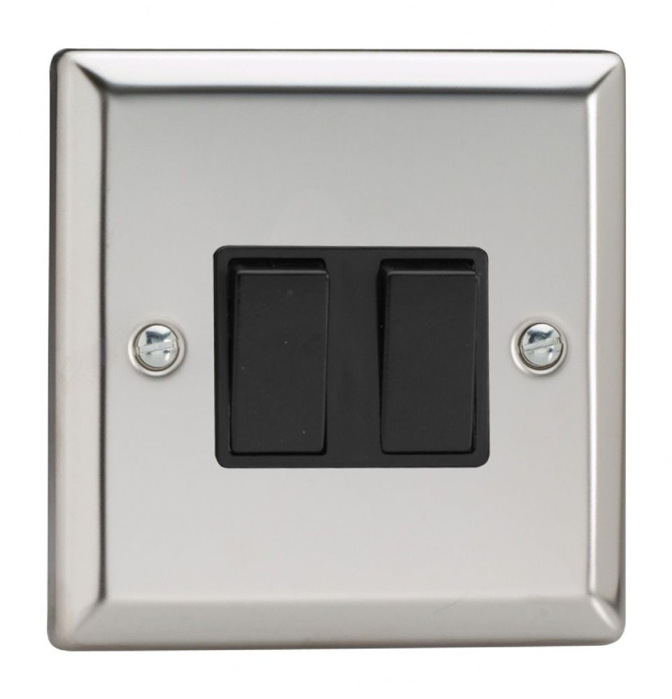 Varilight XC77B Classic Mirror Chrome 2 Gang 10A Intermediate Rocker Light Switch